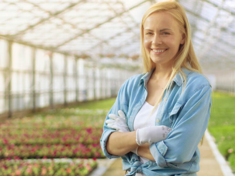 Happy greenhouse production manager